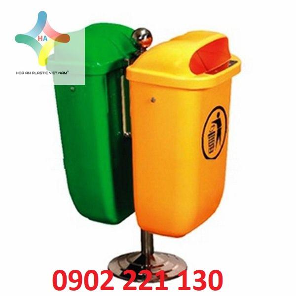 Thùng rác nhựa 2 ngăn giúp dễ dàng phân loại rác thải