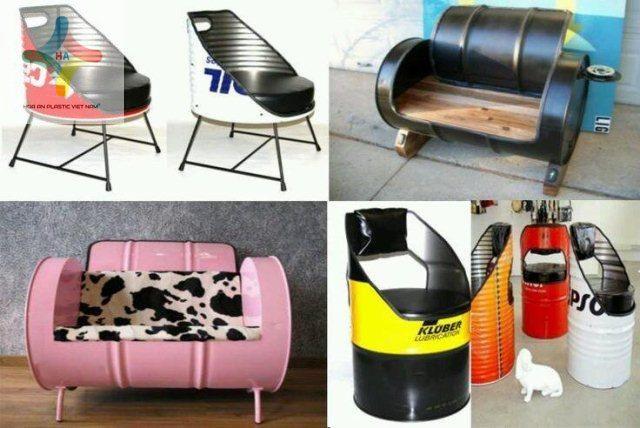 Bàn ghế nội thất từ thùng phuy nhựa tái chế, bạn đã bao giờ nghĩ đến chưa?