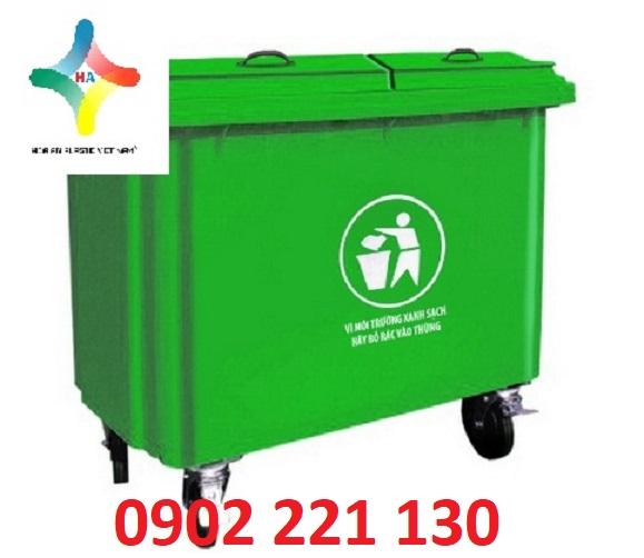 Thùng rác nhựa Composite 660L dung tích lớn, có nắp bảo vệ môi trường